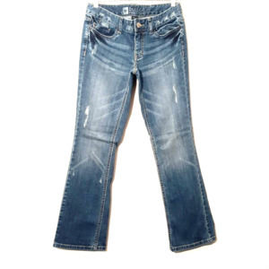 Mossimo blue distressed boot cut stretch jeans